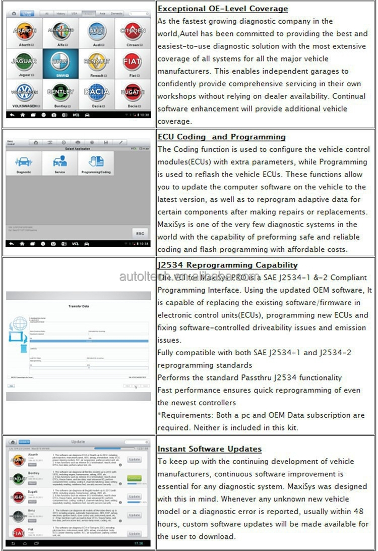 Maxisys Pro Autel MS908P Bosch Kts Universal Car Scanner Autel J2534 Wholesale Price Free Shipping