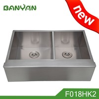 American double bowl fitting handmade kitchen inox sink