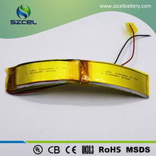 Flexible curved soft LiCoO2 3.7V 500mAh lithium polymer battery 402358 for sports hair clasp