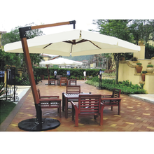 Large Wooden Garden Parasol Cantilever 3.5m outdoor Umbrella