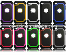 For Ipod touch 4 3 in1 hybird combo football grain phone case; silicon case for Ipod touch4,cute 3d case for ipod touch 4