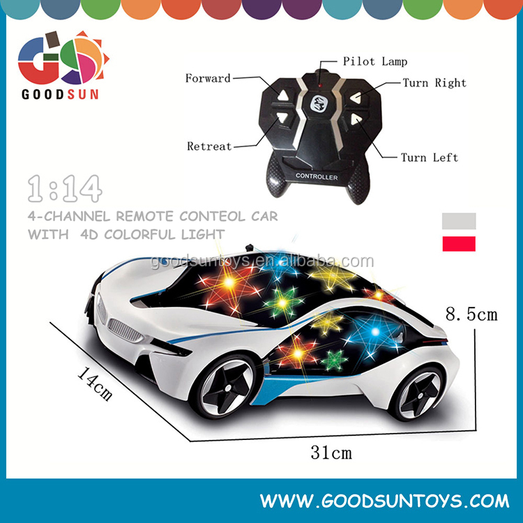 1:14 4 CH RC Car remote control car plastic toys with colorful light and black window speed up rc cars for sale children toys