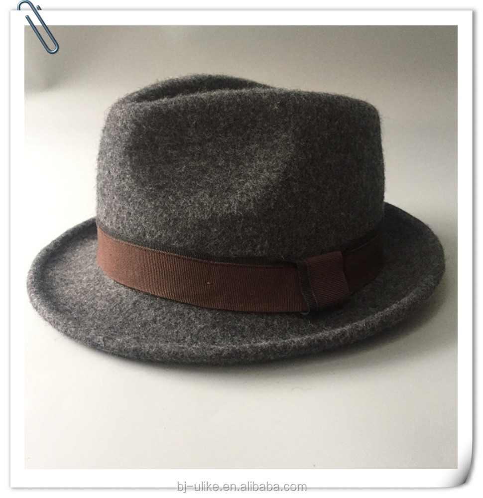 Fashion drank grey man wool felt homburg hat fedora felt hat