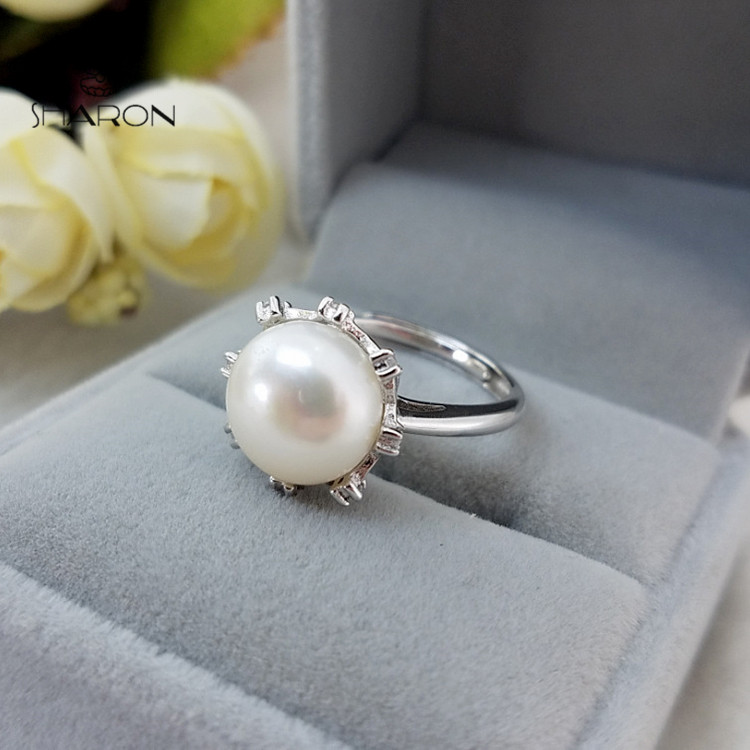 Pearl Engagement Ring Handmade 925 Sterling Silver Pearl Piston Ring Settings Only