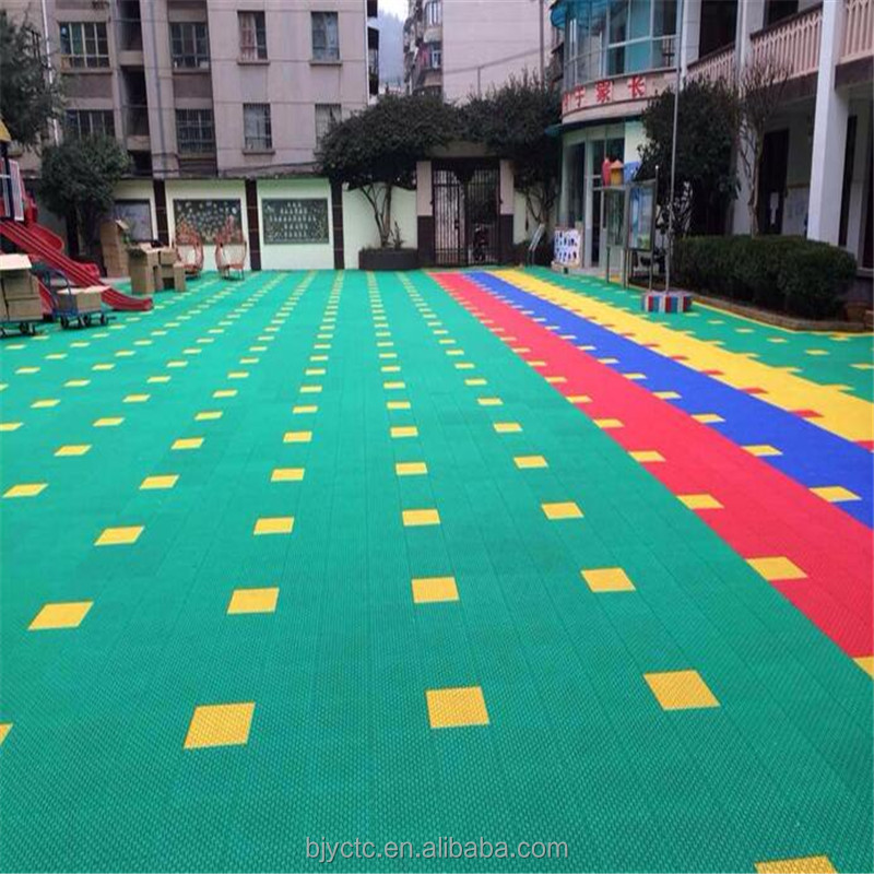 Various color waterproof ant-slip basketball court plastic floor tiles