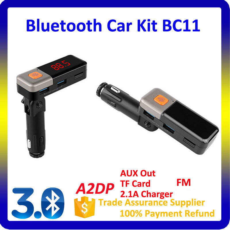 Hands-Free Calling Fm Radio Transmitter 5V 2.1A MP3 Car Stereo With Dual USB Port