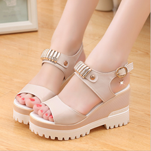 W72163G 2016 latest ladies high heel fancy sandal platform wedges women sandals new design