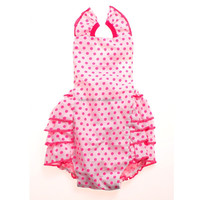 Pure fresh and beautiful Baby rose red spots white backing Romper children clothes