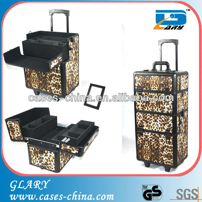 Rolling cosmetic cases,aluminium makeup train case,professional makeup case with trolley