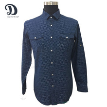 Navy blue custom fancy design pattern long sleeve slim fit men casual shirt