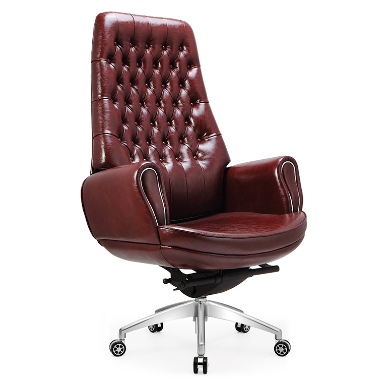 Comfortable excutive chair brown oversized leather recliner chair with Simple European style