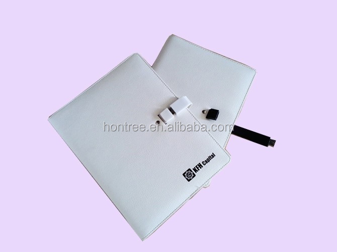 6 hole rings PU leather notebook cover with USB