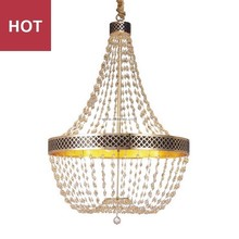 Modern big Living room Gold 6 Lights metal crystal ball lamp bead pendant