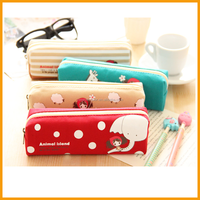 Mini Cartoon Canvas Cheaper Zippers Student Pencil Bag/pencil case