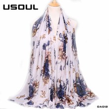 Arab Women's Headscarf Muslim Hijabs Flower Printed Plain Shawls 100% Cotton Voile Scarf