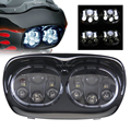 "oval double led headlight for harley davison 7"" headlight motorcycle led"