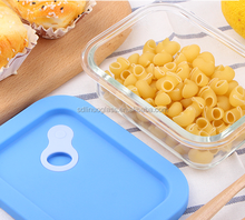 Heat resistant glass container with silicone lid leakproof glass food storage set