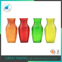 cross grain transparent color large glass flower vases