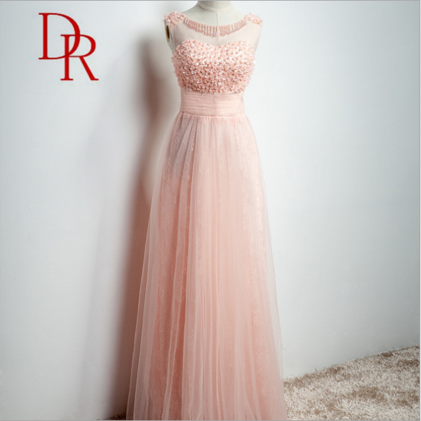 2017 apparel O-neck handwork peach lace A-line party sleeveless beaded women bridesmaid dress online