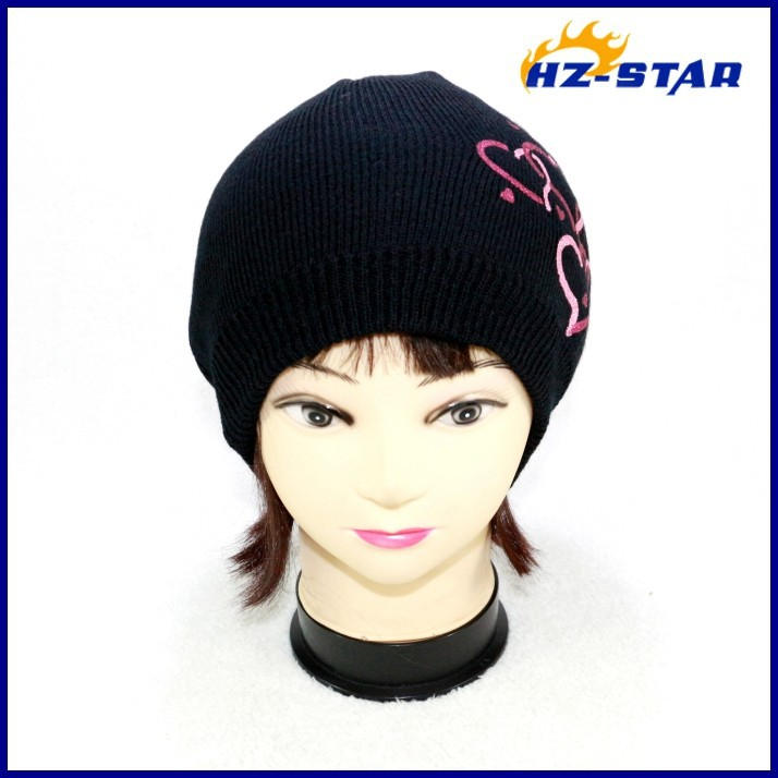 HZM-13322001 Best Quality Black Cheap Custom warm fashion printed knitted fashion ski hats