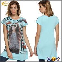 Ecoach wholesale Ladies Women Casual round neck Cap Sleeved digital Print Mini t shirt Dress