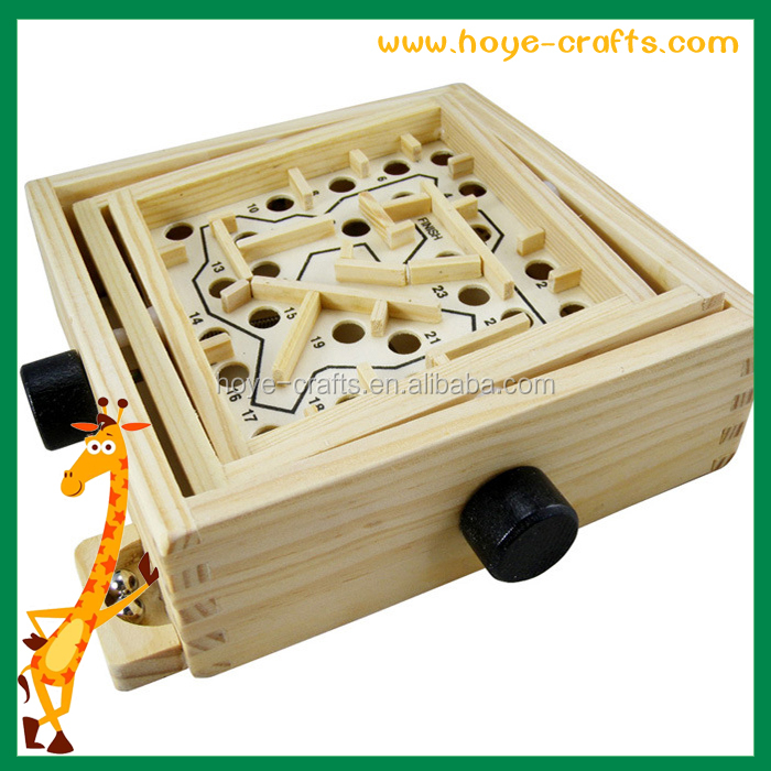 Mini Wooden Labyrinth Board Game Desk Top Games Wooden Maze Toys