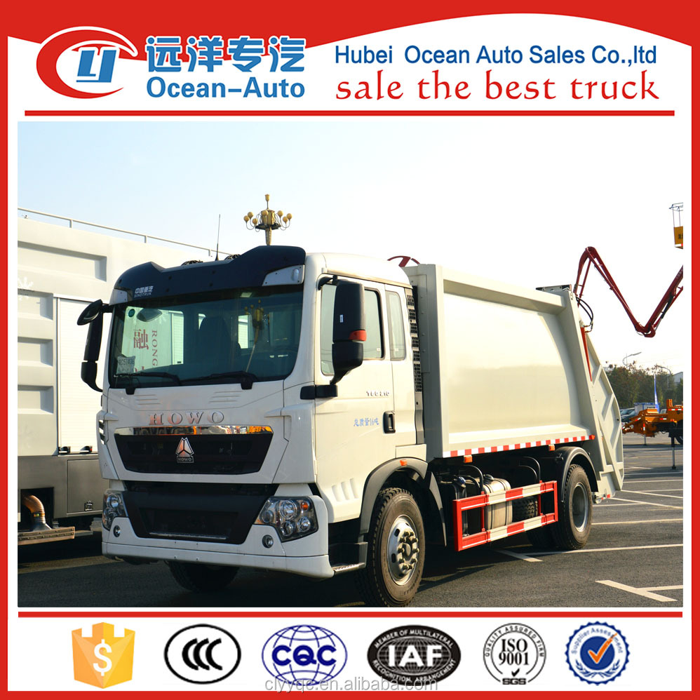 SINOTRUCK HOWO brand 4*2 solid waste compactor truck with 300hp