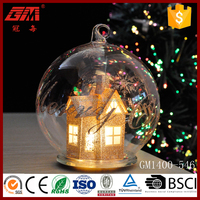 Christmas tree hanging ball with snow house inside