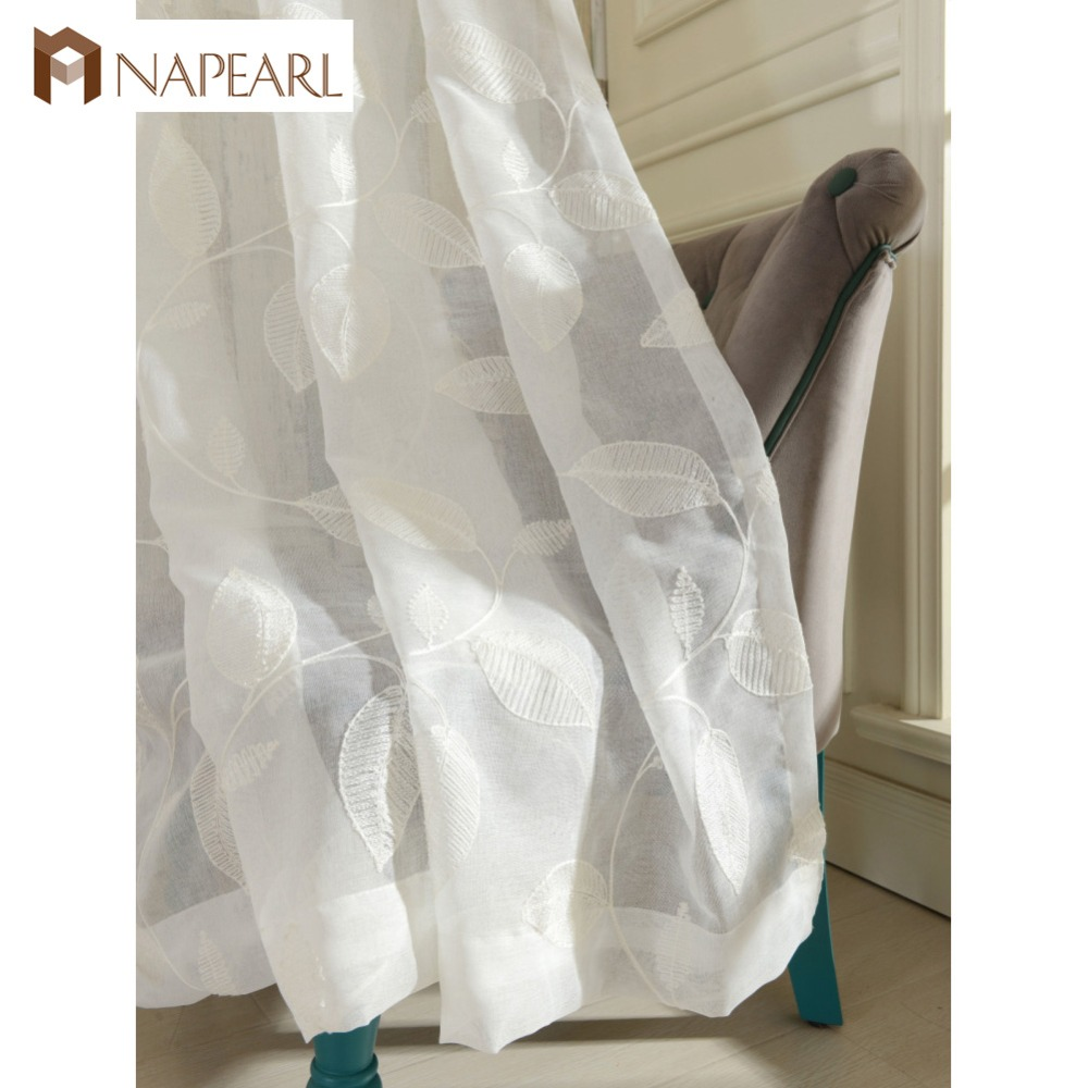NAPEARL oriental linen embroidered white leaves sheer curtains tulle fabric curtain