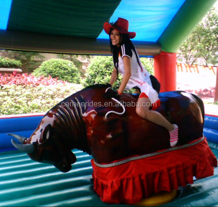 amusment park inflatable mechanical bull ride for children