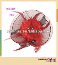 fashion Red fascinators with feather for lady