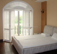 PVC Arched Top wood Window shutters Round Design Swing Casement Window With Grilles