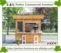 Prefab wood container rstaurant coffee beans Crepe food booth design for sale