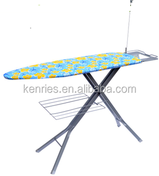 4-leg good quality Metal mesh top Ironing board with iron holder wire holder and garment rack
