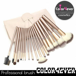High quality wholesale professional 18pcs leather pouch makeup brushes made of wooden handle and alu-ferrule