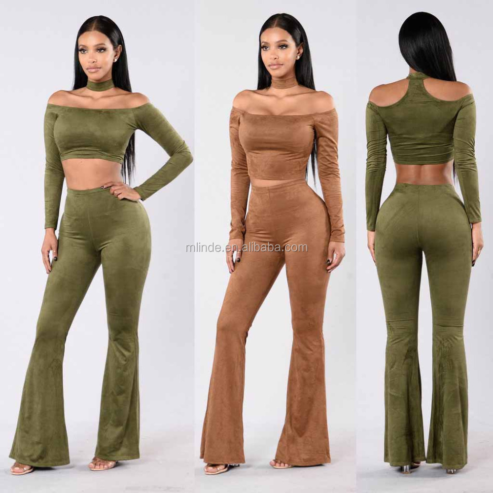 Women two piece set Off Shoulder Cropped Top And High Waist Flared Bottom Legging Suede Matching Set 2 piece Set Women