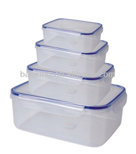Rectangular airtight plastic food container s/4