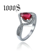 2016 latest wedding ring designs , 925 sterling silver with rhodium plated , red & blue main stone
