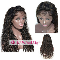 150% Density Glueless Human Hair Wig With Baby Hair Brazilian Virgin Brown Highlights Curly Lace Front Wigs For Black women