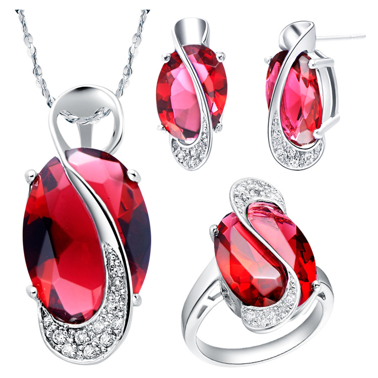Free Shipping Fashion Costume Copper Jewelry Ruby Sapphire Gemstone 18k White Gold Jewelry <strong>Sets</strong> for Girls Women Accessories Gift