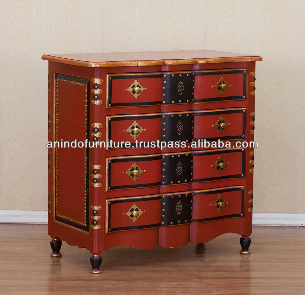 Chinese Red Antique Chest of Drawers