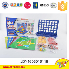 Funny plastic educational 8 in 1chess,intellectual four in one line play chess game toys.