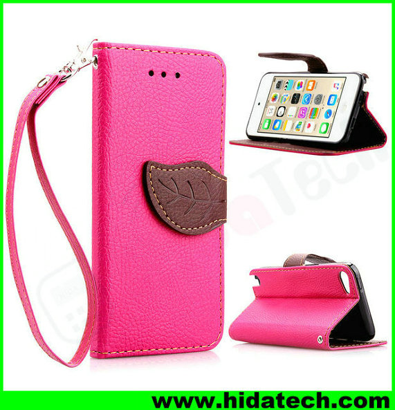 Wholesale foldable color leather phone case for iphone 5 case with inside card slots
