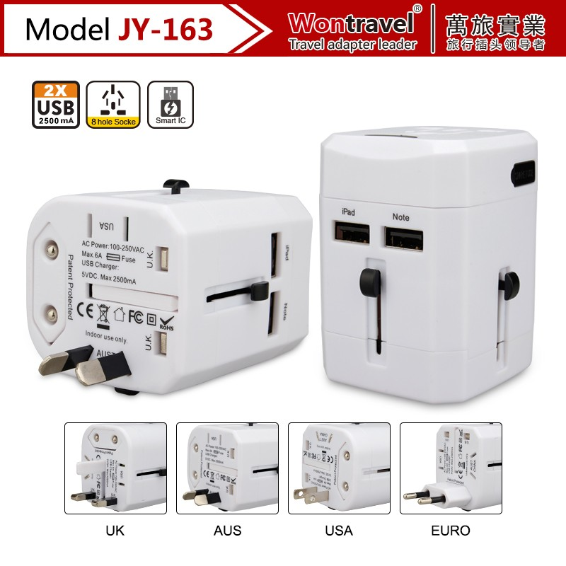 Mini size EU AU UK US dual USB Ports Wall Charger Power Adapter Plug for mobile phone/tablet