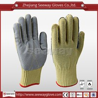 Seeway Aramid Knitted Cut Resistant Self Defense protection Leather gloves