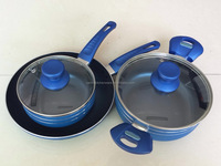 5pcs Aluminum Color Non-stick Cookware Set with Lid