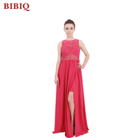 Manufacturer OEM Elegant Women Red Fashion Sleeveless Long Prom Dress 2017