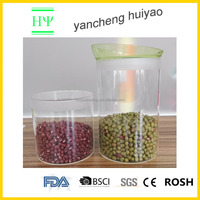 capacity 0.65L/1.0L/1.45L glass storage Jar with cap food grade glass container with plastic lid silicon seal ring jars