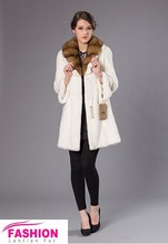 White mink fur coat fur coat with fox fur collar from China