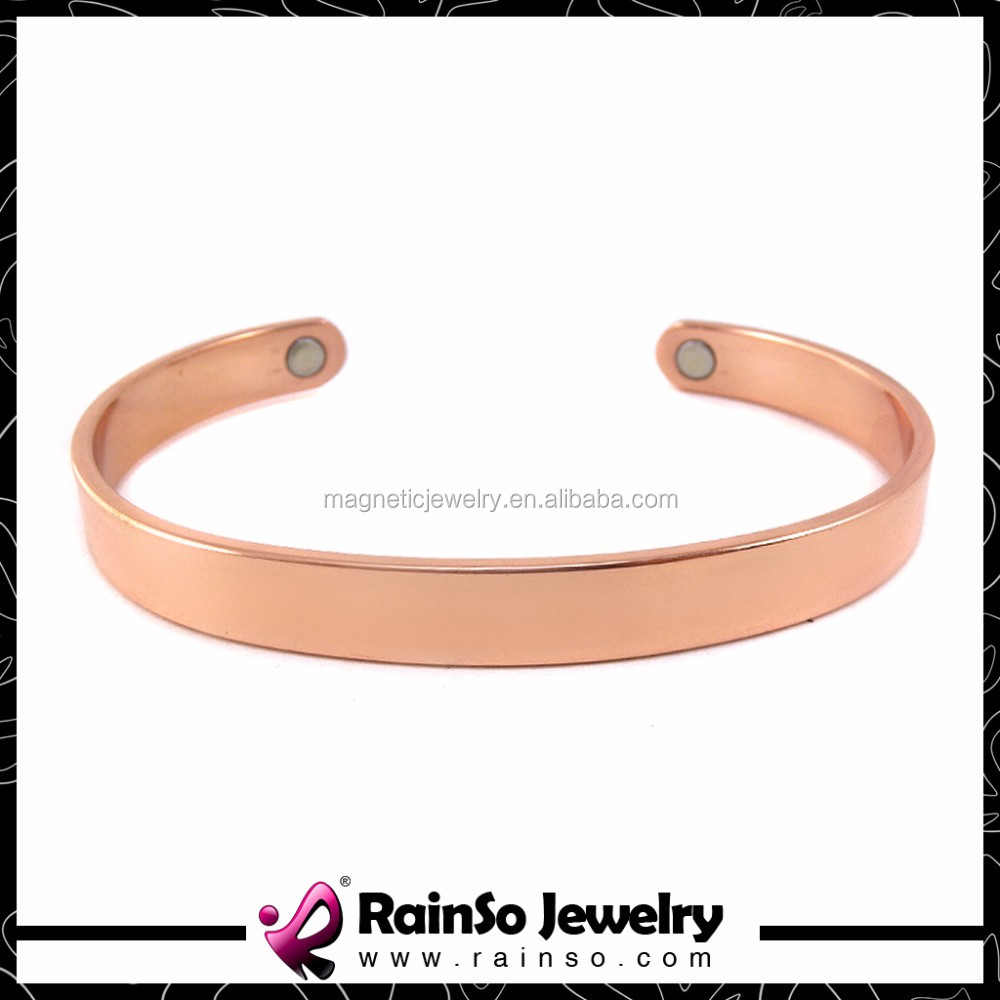 New arrival stock custom logo magnetic gold wide copper bracelets